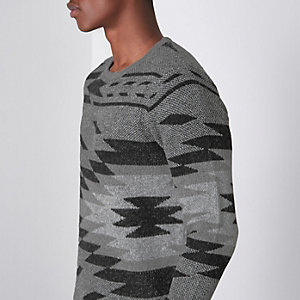 Only & Sons – Pull motif aztèque gris