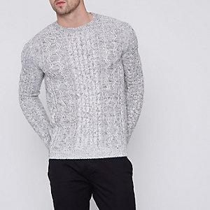 Only & Sons – Grauer Pullover mit Zopfstrickmuster