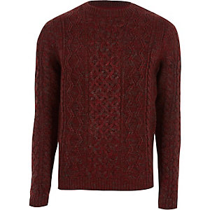 Only & Sons – Roter Strickpullover mit Zopfmuster