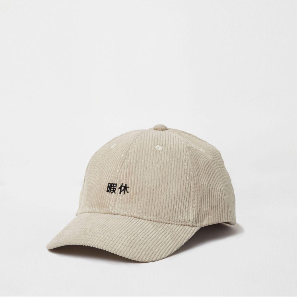 Cream cord embroidered baseball cap