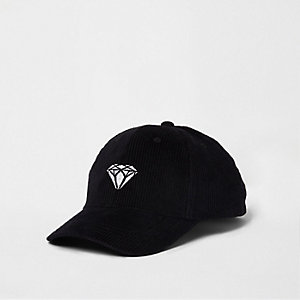 Black cord diamond embroidered baseball cap