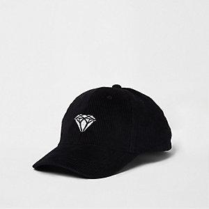 Casquette de baseball en velours côtelé noire avec diamant brodé