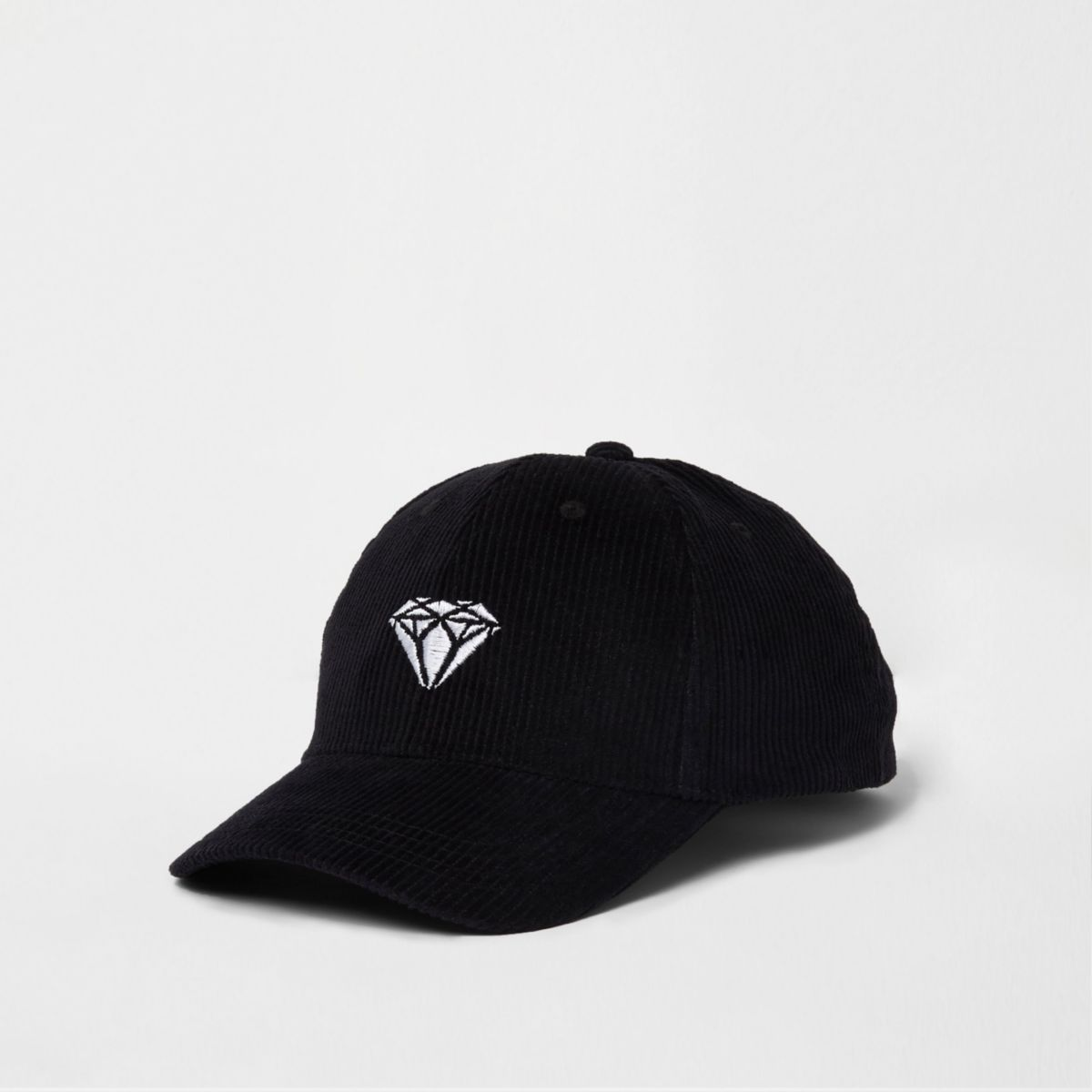 Zwarte corduroy baseballpet met geborduurde diamant