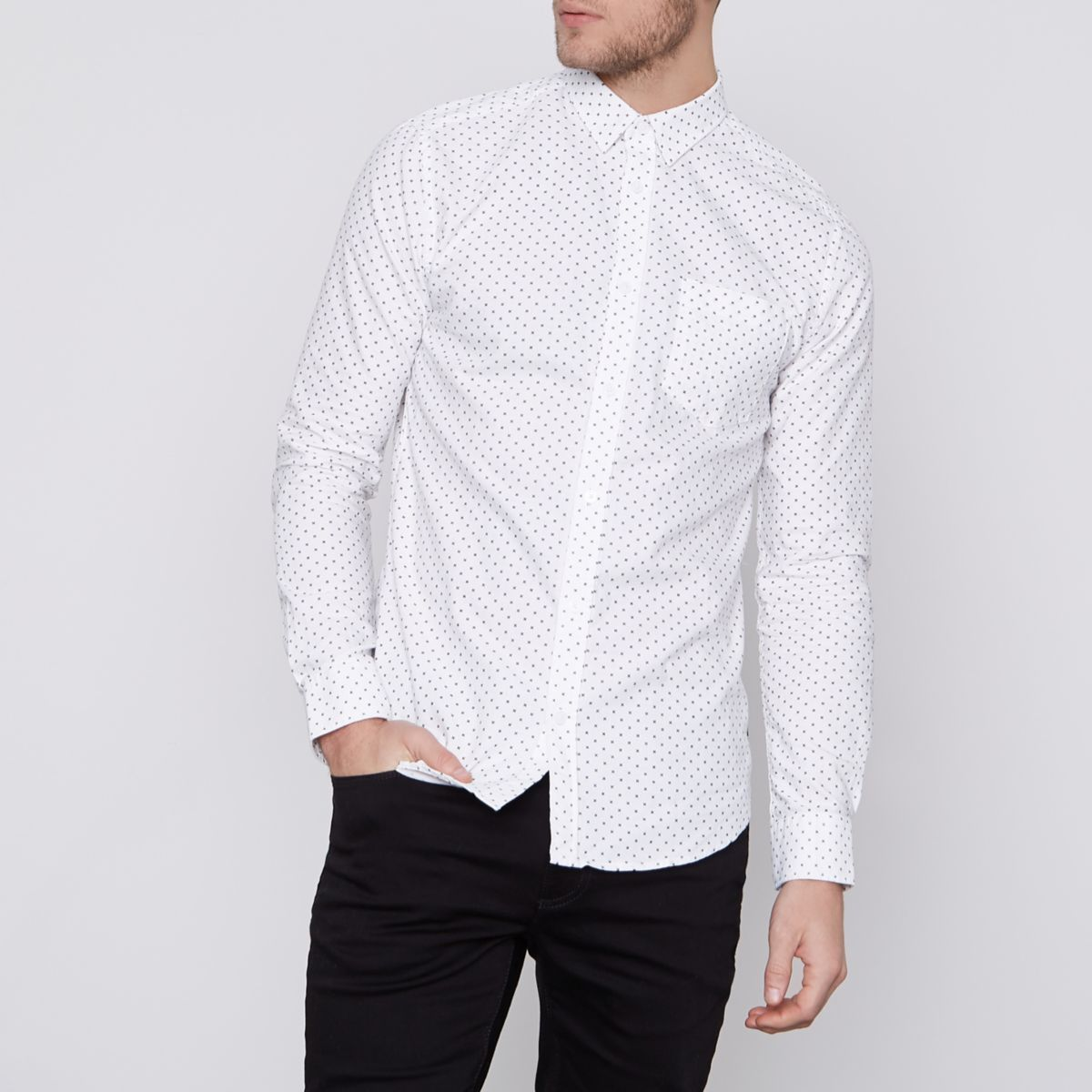 White Only & Sons ditsy print slim fit shirt