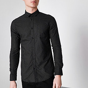 Black Only & Sons ditsy print slim fit shirt