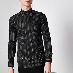 Only & Sons - Zwart slim-fit overhemd met fijne print