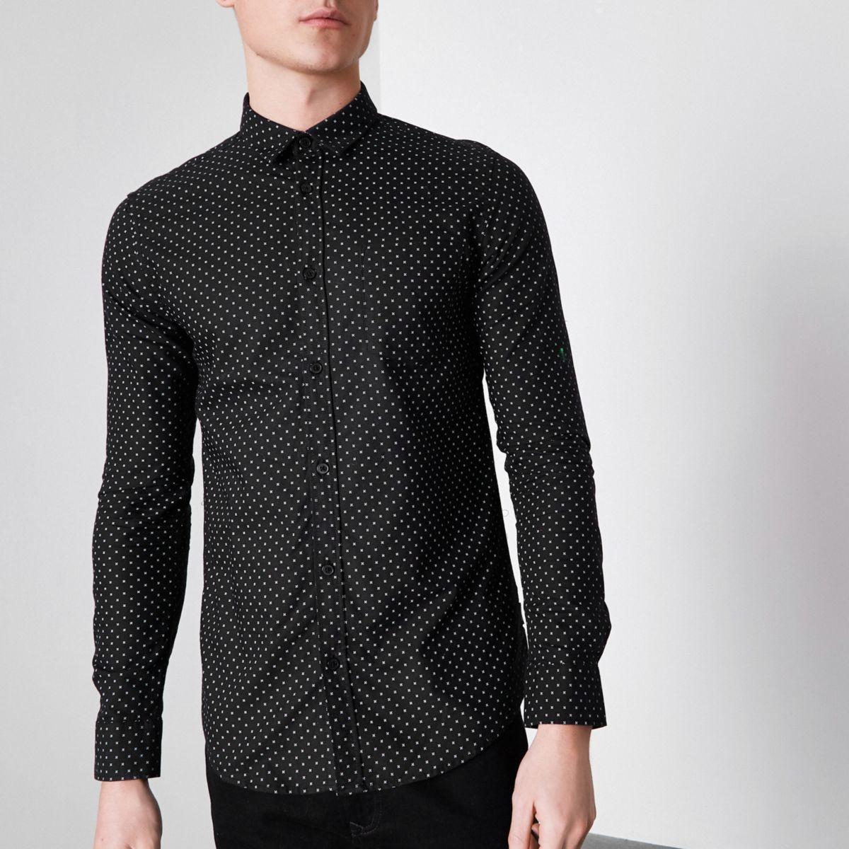 Black Only & Sons ditsy print slim fit shirt