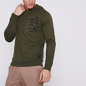 Dark green Only & Sons printed hoodie
