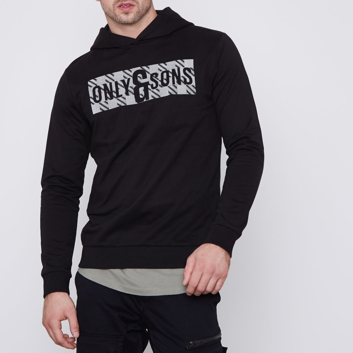 Black Only & Sons printed hoodie