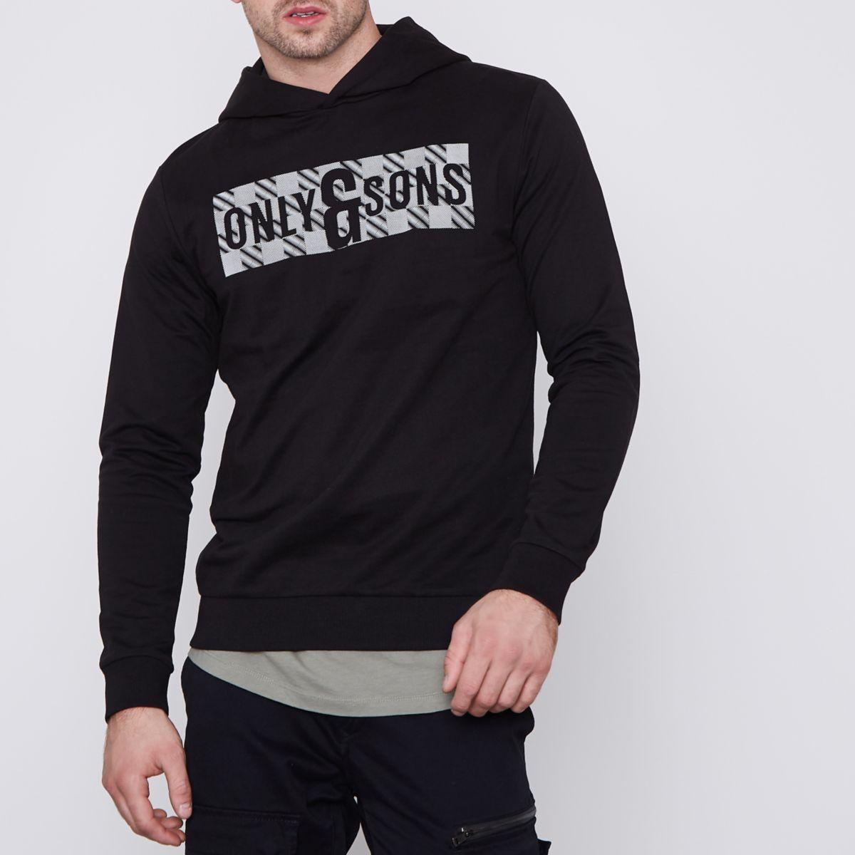 Only & Sons black printed hoodie