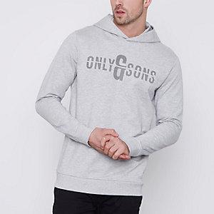 Only & Sons - Grijze hoodie met print