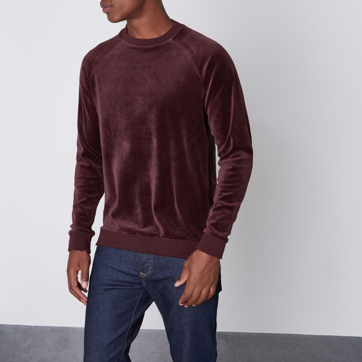 Red Only & Sons velour sweater