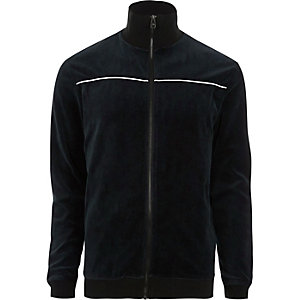 Navy Only & Sons velour zip up jacket
