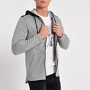 Only & Sons – Sweat zippé gris à capuche