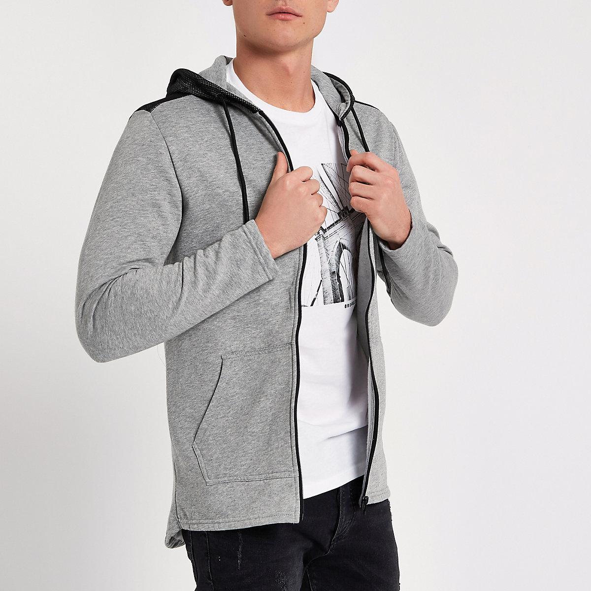 Only & Sons grey mesh zip up hoodie