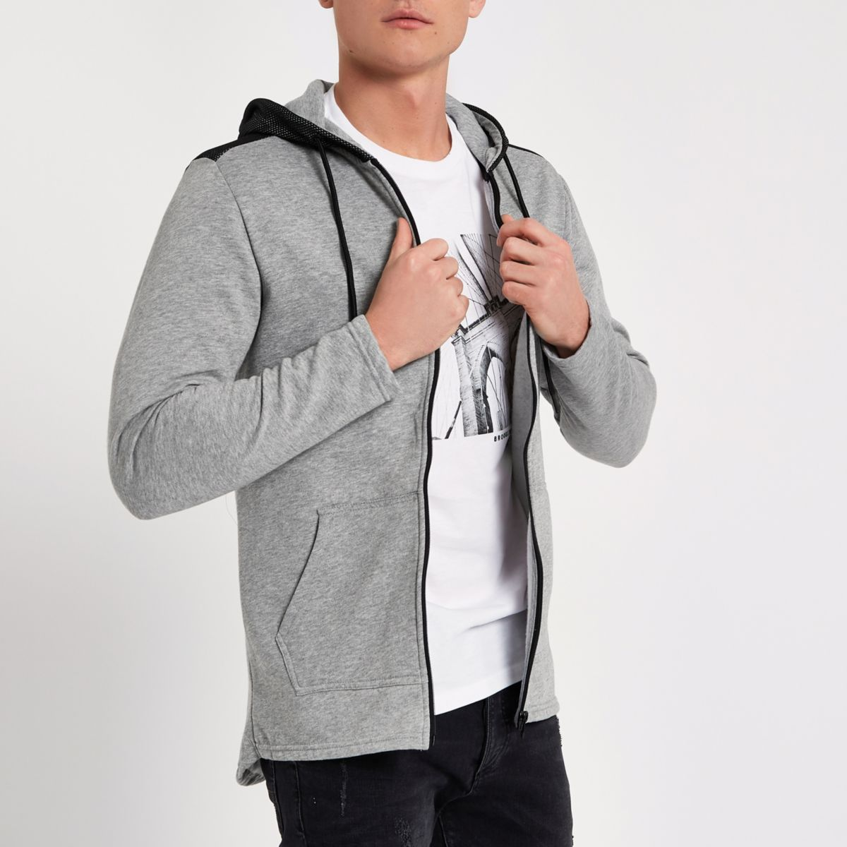 Only & Sons grey mesh zip up hoodie