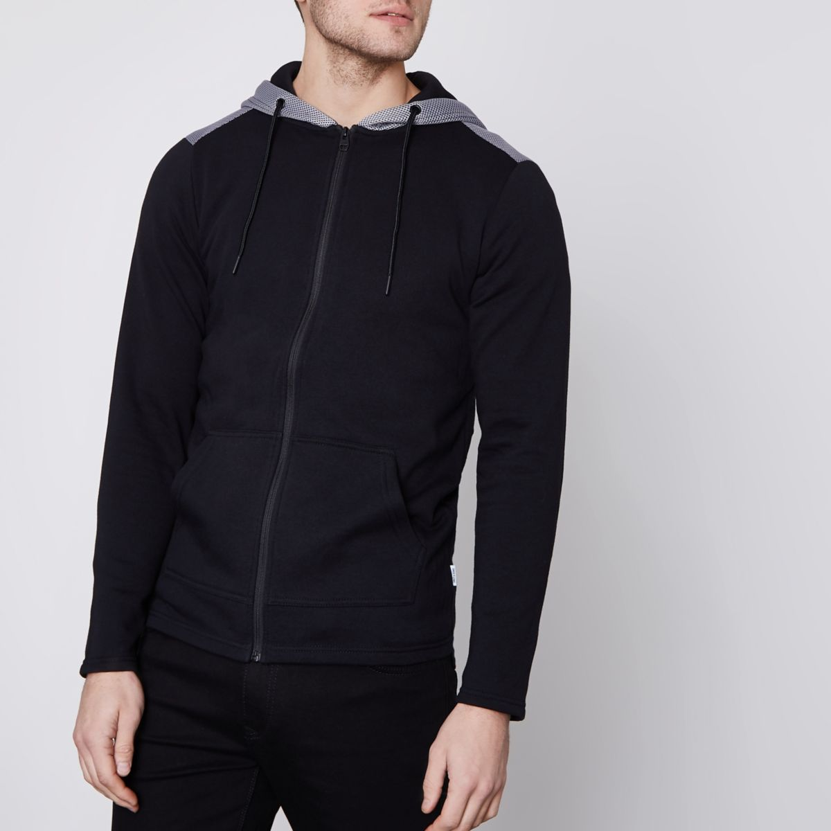 Black Only & Sons mesh zip up hoodie
