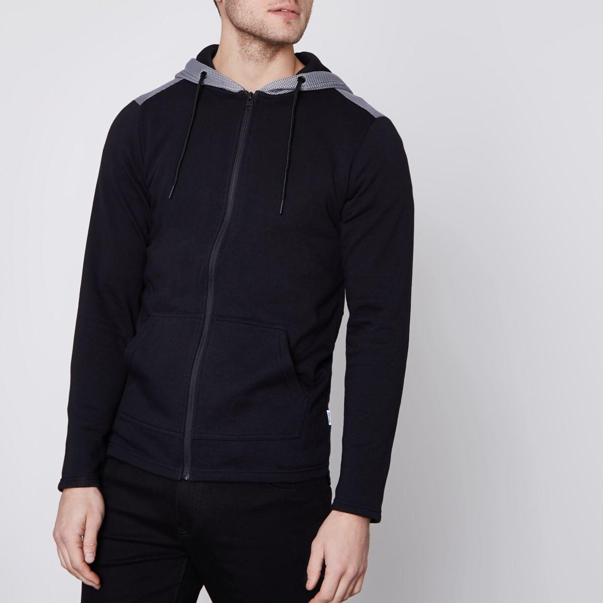Black Only & Sons mesh zip up hoodie