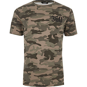 Only & Sons – Grünes T-Shirt mit Camouflage-Muster