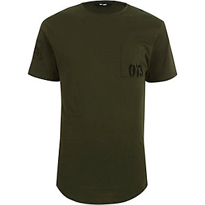 Dark green Only & Sons pocket print T-shirt