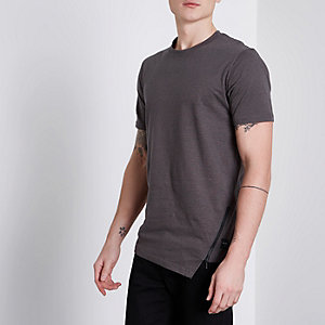 Only & Sons – T-shirt rayé taupe à ourlet zippé
