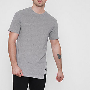 Only & Sons – T-shirt rayé gris à ourlet zippé