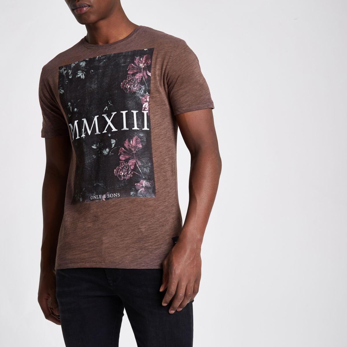 Only & Sons paars gebloemd slim-fit T-shirt