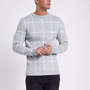 Grijze geruite slim-fit pullover