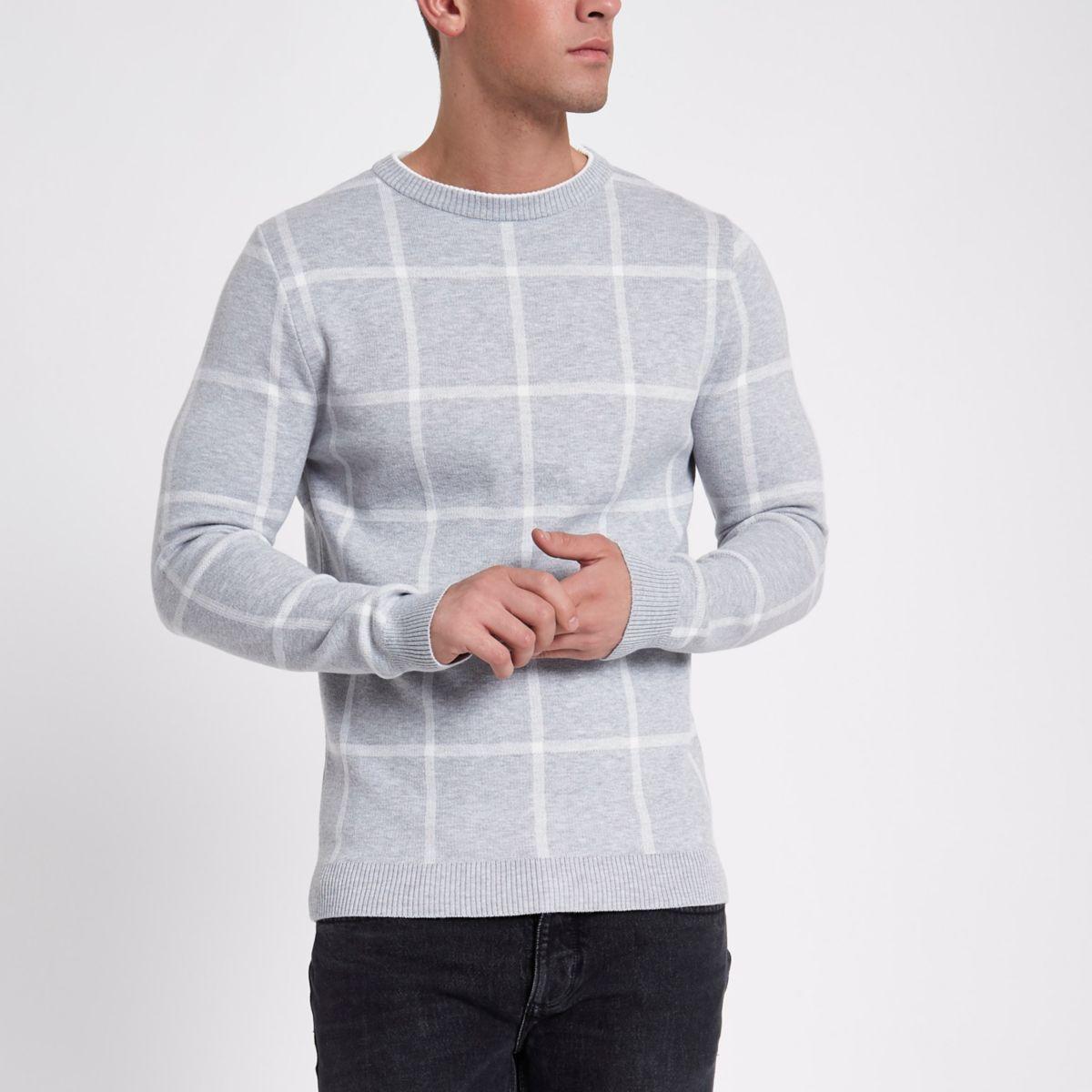 Grey check slim fit jumper