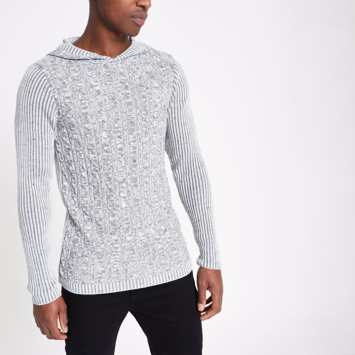 Grey rib and cable knit muscle fit hoodie