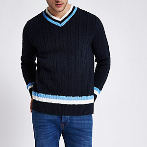 Navy V neck slim fit cable knit sweater