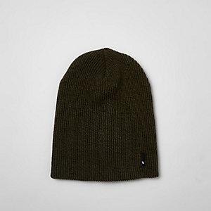 Khaki green slouch beanie hat