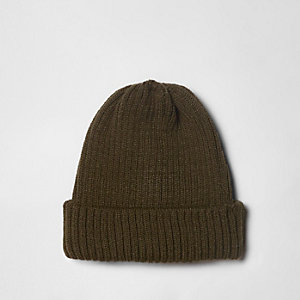 Khaki green rib knit fisherman beanie hat