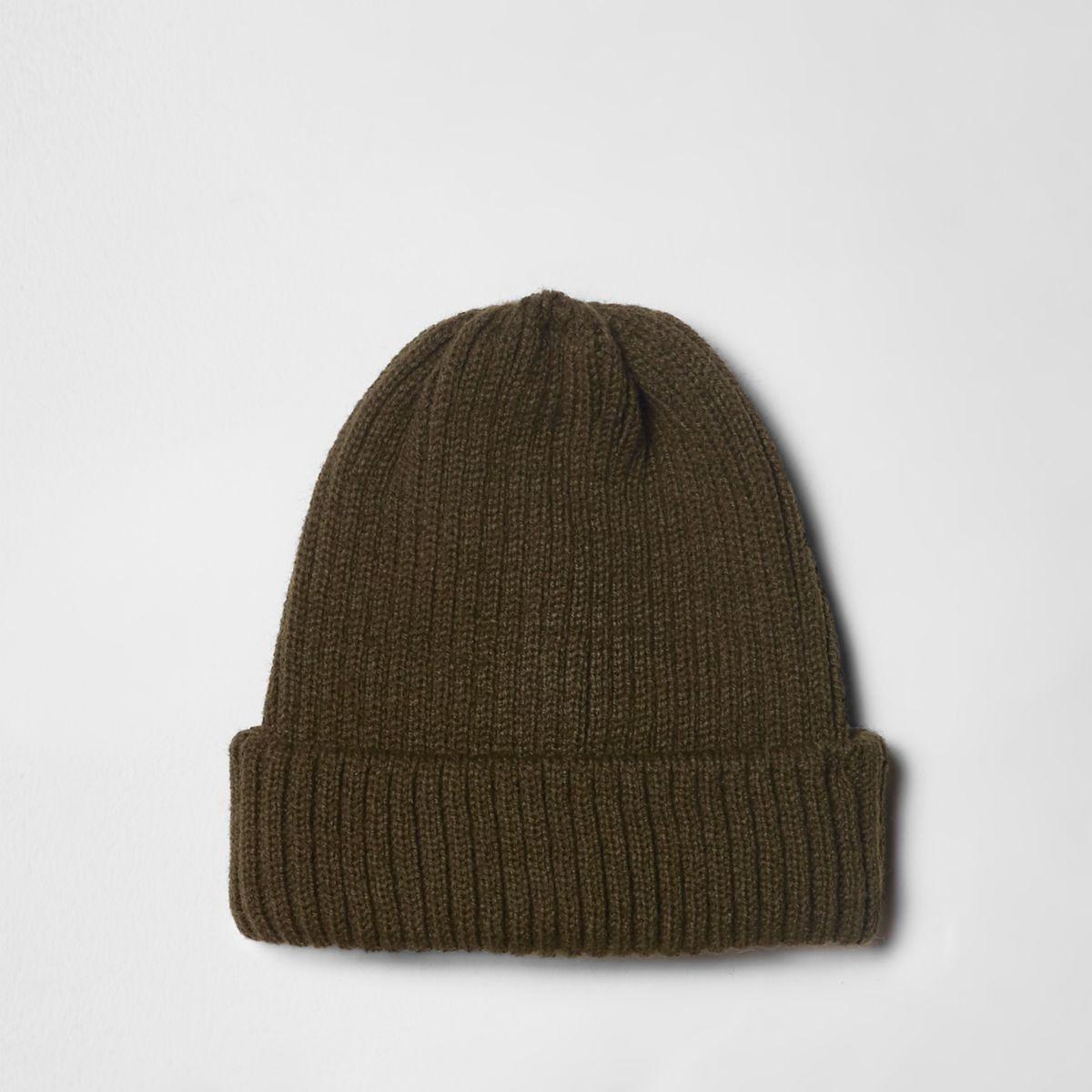 Khaki green rib knit fisherman beanie hat