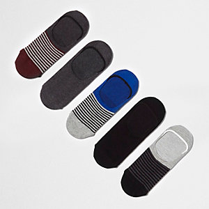 Grey sneaker liner socks multipack