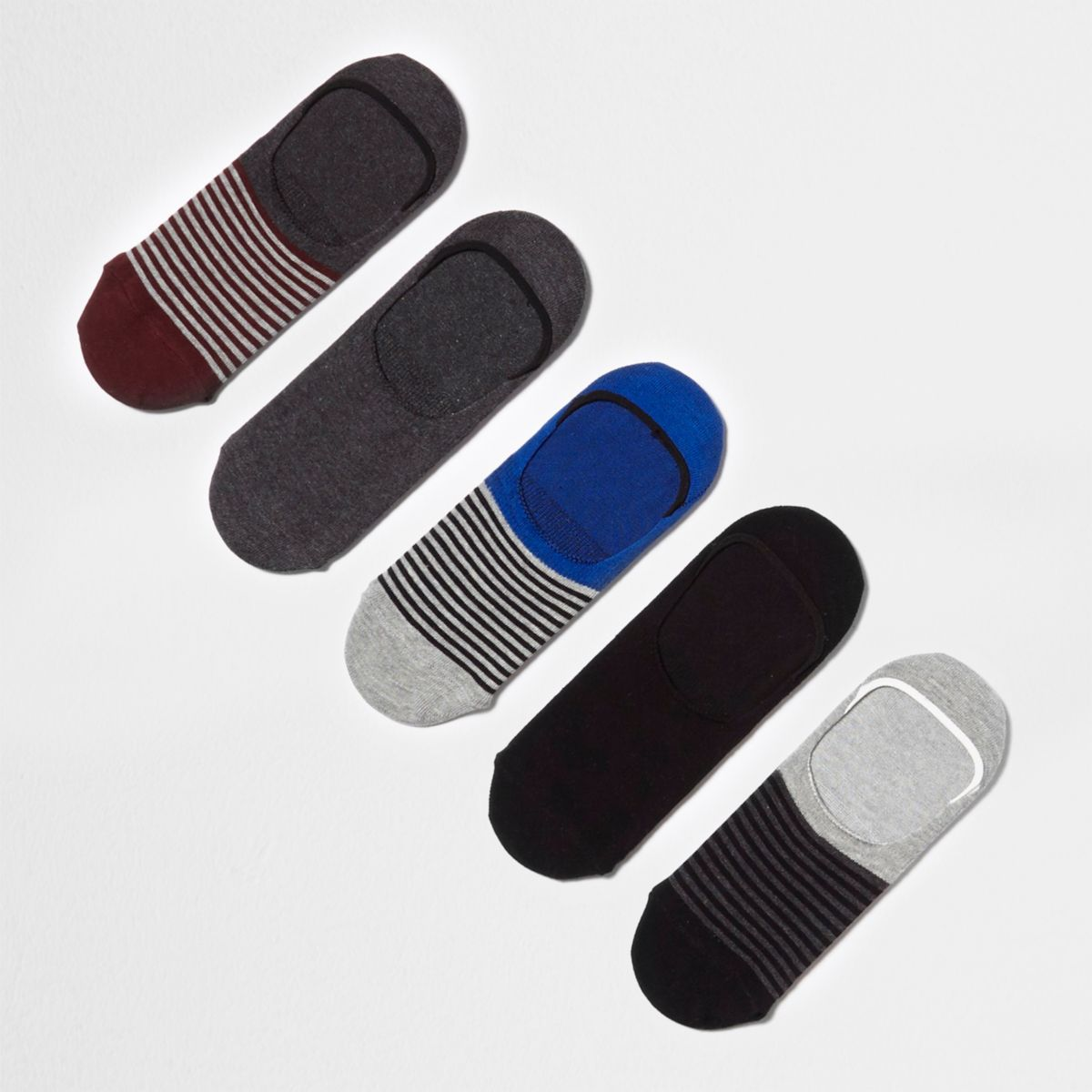 Grey stripe sneaker liner socks multipack