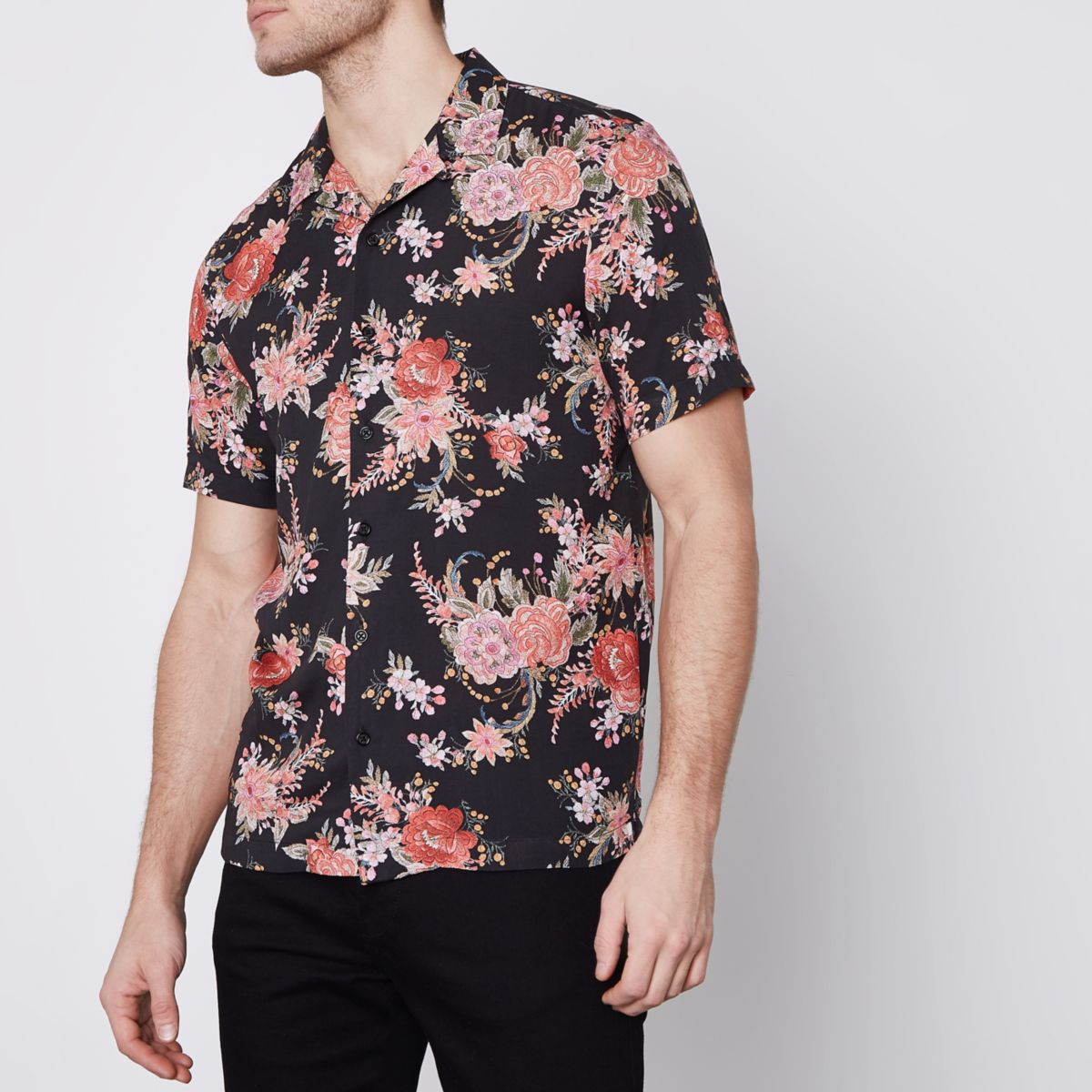 Black floral print short sleeve revere shirt short for Black floral print shirt