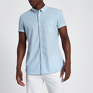 Lichtblauw slim-fit button-down overhemd