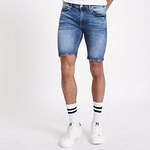 Short en denim skinny bleu moyen délavé