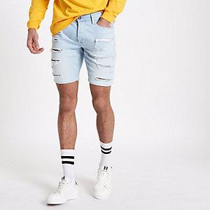 Light blue ripped skinny denim shorts
