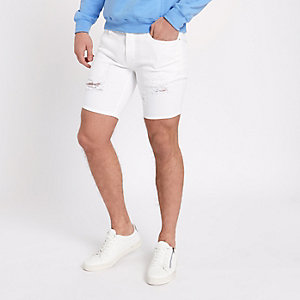 White ripped Sid skinny fit denim shorts