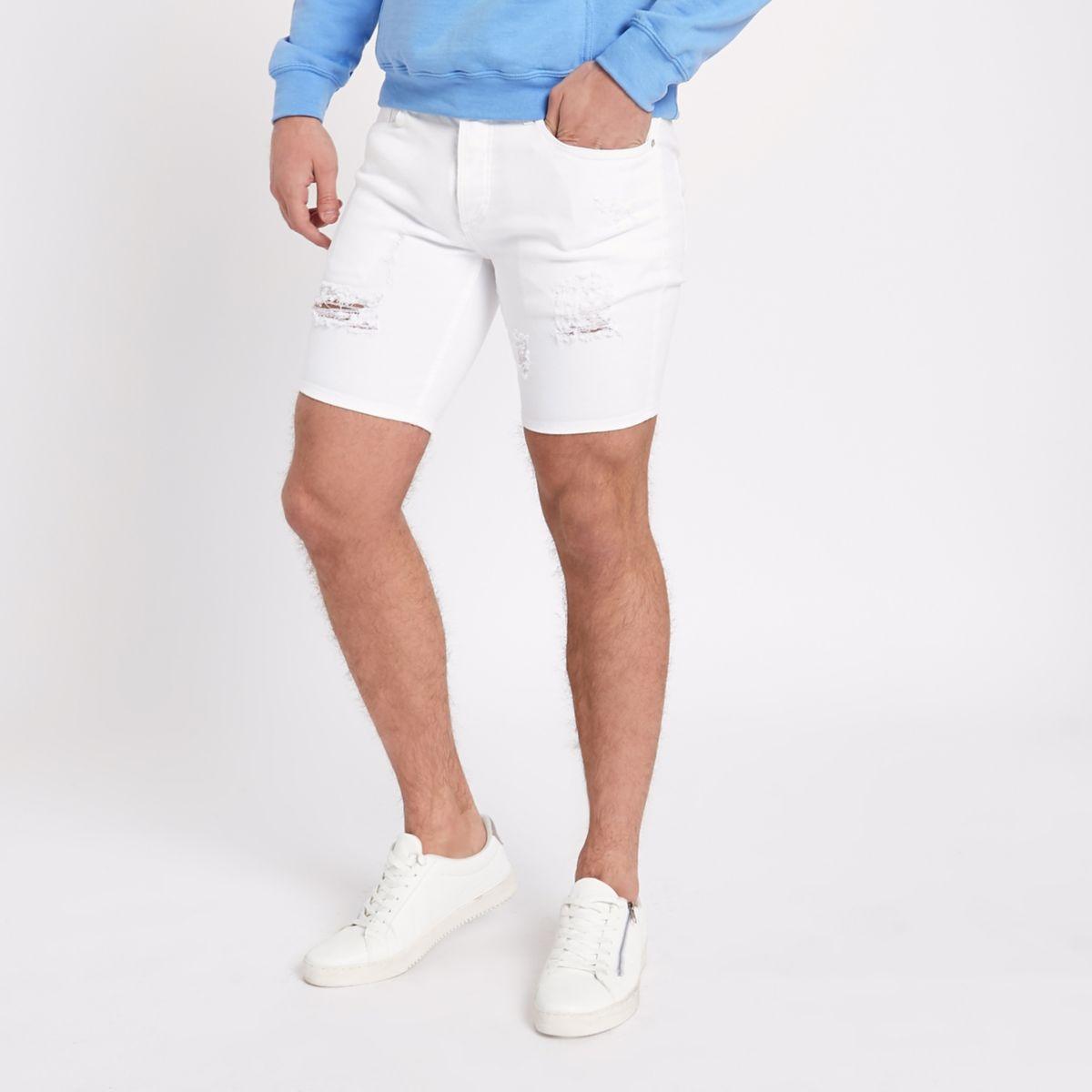 White ripped Sid skinny fit denim shorts
