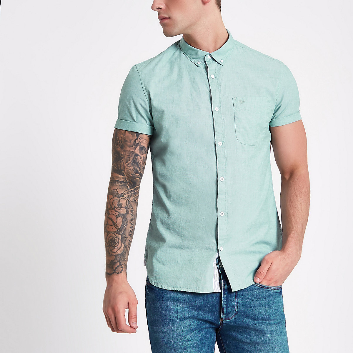 Teal green slim fit short sleeve shirt
