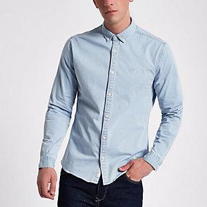 Aansluitend denim overhemd met lichtblauwe wash