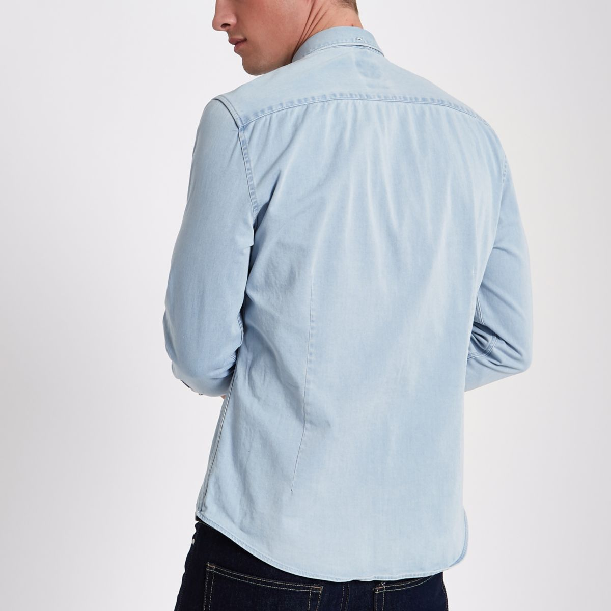 shirt Light muscle fit wash blue denim XwqAUF