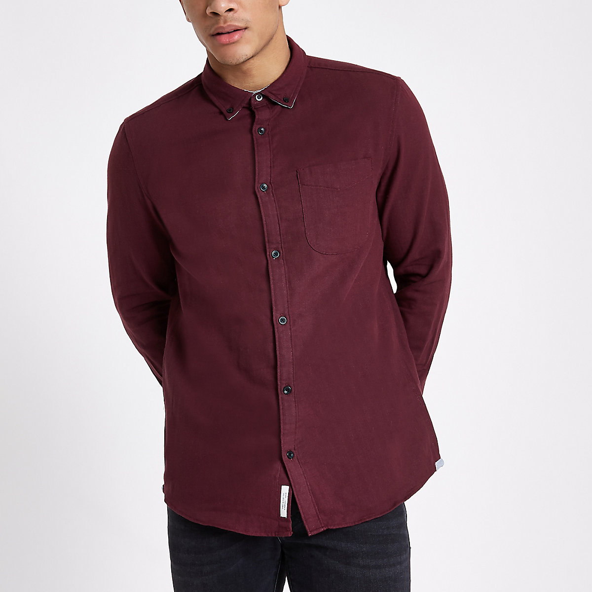 Burgundy slim fit double face shirt