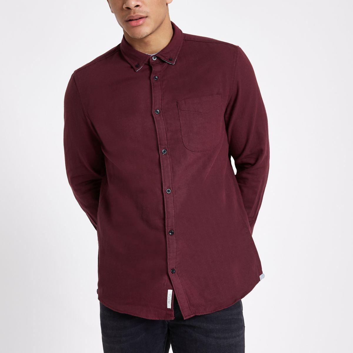 Burgundy slim fit double face shirt