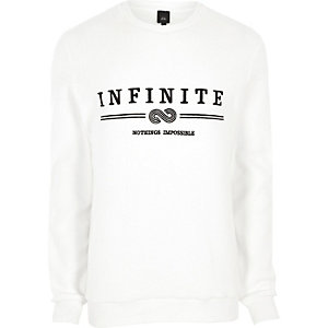 White 'infinity' embroidered soft sweatshirt