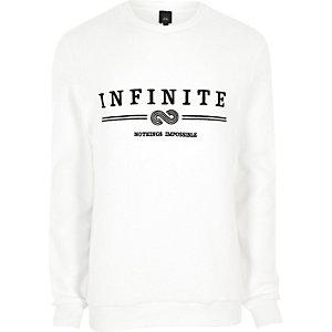 Sweat doux blanc à broderie «infinity»