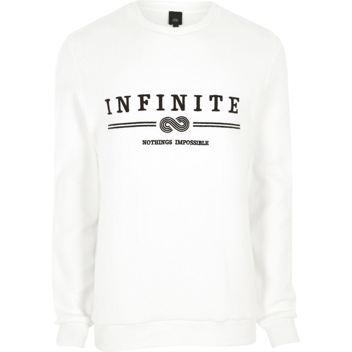 White 'infinity' embroidered soft sweatshirt